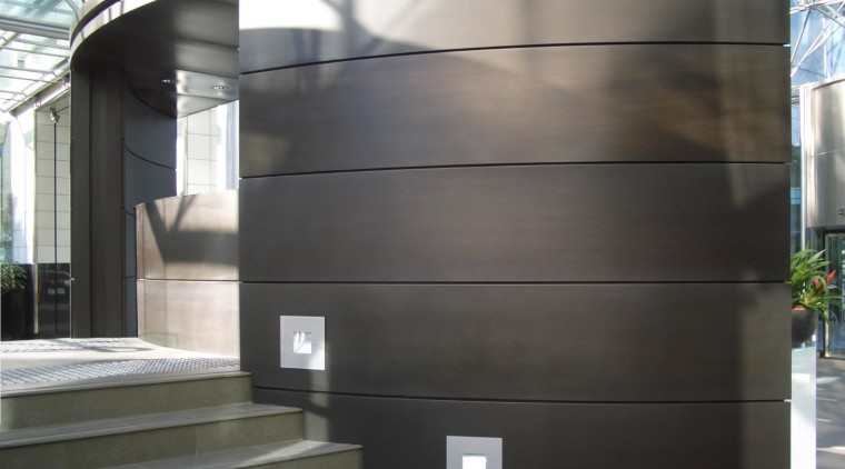 View of brass walls fabricated by Craft Metals architecture, building, facade, glass, structure, black, gray