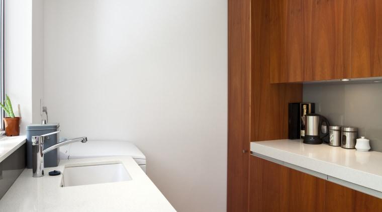 View of kitchen which features oak floors, CaesarStone architecture, bathroom, countertop, floor, flooring, hardwood, house, interior design, kitchen, real estate, room, sink, wood, wood flooring, white, brown
