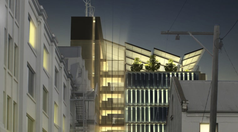 Conceptual image of the ACU Centre for Health apartment, architecture, building, city, condominium, downtown, evening, facade, infrastructure, lighting, metropolis, metropolitan area, mixed use, neighbourhood, night, residential area, sky, skyscraper, town, black