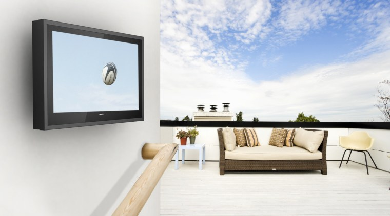 View of outdoor flat screen TV from H2OTV. furniture, interior design, product design, table, white