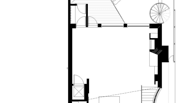 View of contemporary home within a 3-storey atrium angle, architecture, area, black and white, design, diagram, drawing, elevation, floor plan, font, line, plan, product, product design, schematic, square, structure, technical drawing, white