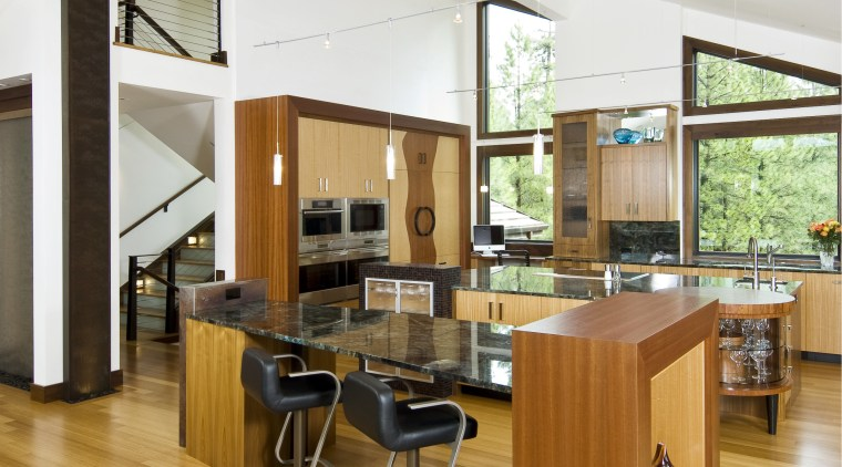 View of a kitchen designed by Kristi Wolfe countertop, floor, flooring, furniture, hardwood, interior design, kitchen, living room, real estate, wood, wood flooring, white