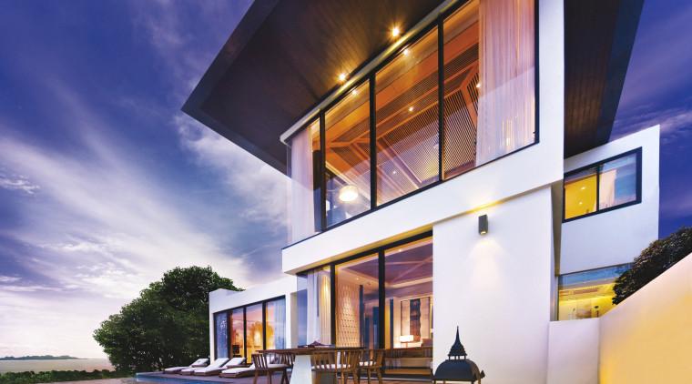 View of contemporary resort with European/Thai-style furniture, sliding architecture, building, condominium, estate, facade, home, house, interior design, property, real estate, sky, villa, window, white, blue