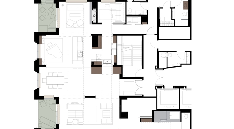 View of master bedroom and bathroom in subdued angle, area, design, elevation, floor plan, font, line, plan, product, product design, schematic, square, structure, text, white
