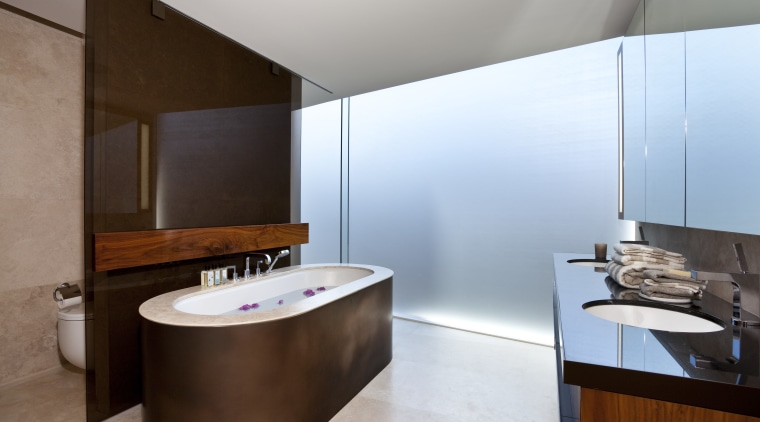 View of bathroom with freestanding tub in a architecture, bathroom, interior design, product design, room, brown, white