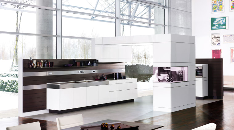 View of a contemporary kitchen which features Poggenpohl display case, furniture, interior design, kitchen, product design, table, white