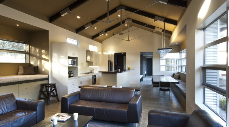 View of rural home with open plan lounge ceiling, house, interior design, living room, lobby, loft, real estate, brown