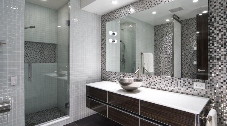 View of apartment bathroom designed by Design Elements bathroom, ceiling, floor, flooring, interior design, room, tile, wall, gray