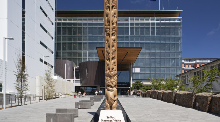 View of the Christchurch City Council building, with architecture, building, memorial, monument, statue, gray