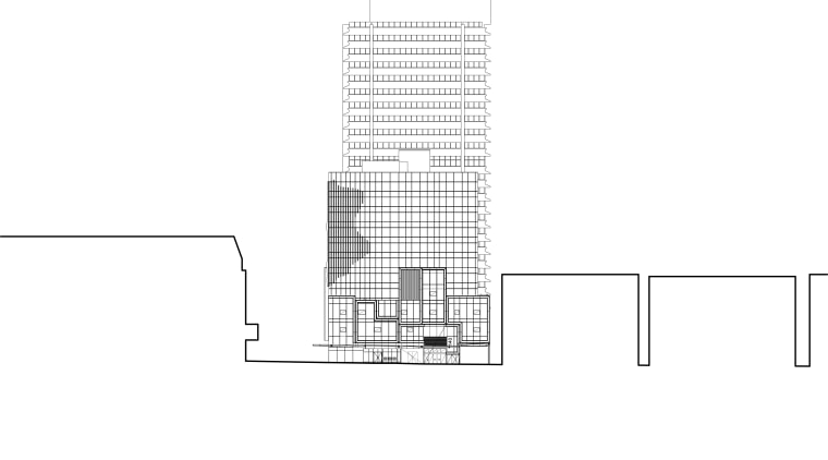 View of office tower with retail podium with angle, architecture, area, design, diagram, elevation, font, line, product, product design, structure, white