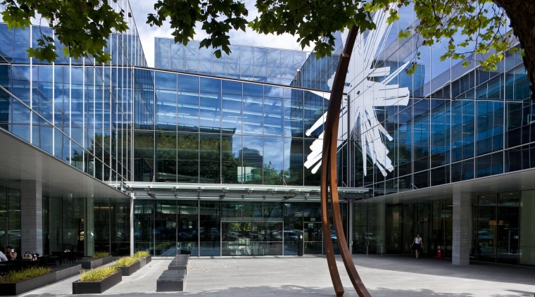 View of the Telecom Auckland head office, spread architecture, building, commercial building, condominium, corporate headquarters, daytime, facade, headquarters, house, mixed use, sky, structure, tourist attraction, black