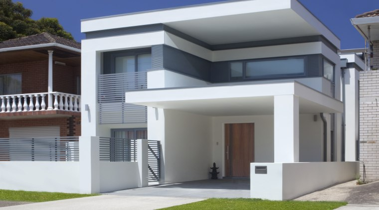 View of contemporary white home. architecture, building, elevation, estate, facade, home, house, official residence, property, real estate, residential area, gray