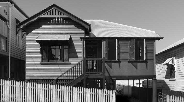 View of an inner city cottage. architecture, black and white, building, facade, home, house, landmark, line, monochrome, monochrome photography, neighbourhood, real estate, residential area, siding, structure, suburb, town, gray, black