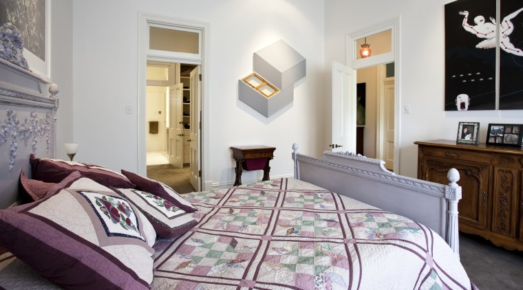 View of bedroom. bed frame, bed sheet, bedding, bedroom, estate, floor, furniture, home, interior design, property, real estate, room, suite, textile, window, gray