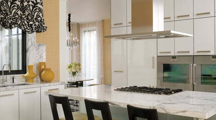 Calacatta marble topped island bench top.  Stainless countertop, cuisine classique, home, interior design, kitchen, room, table, gray