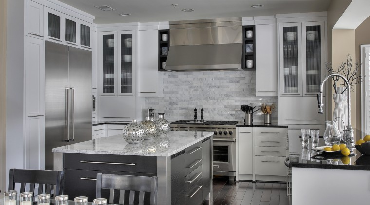 Monochromatic palette. Black painted oak island with stainless cabinetry, countertop, cuisine classique, interior design, kitchen, gray