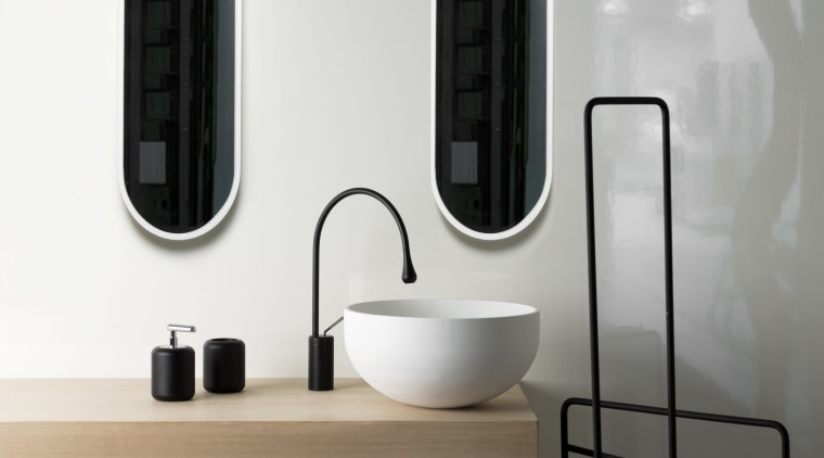 View of contemporary basins. bathroom, bathroom accessory, ceramic, plumbing fixture, product, product design, small appliance, tap, white