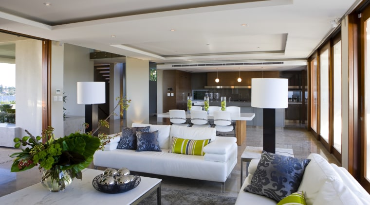 View of open plane lounge and dining area ceiling, interior design, living room, real estate, room, gray