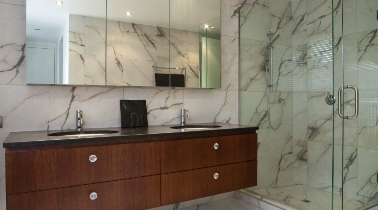 View of bathroom with marble-patterened porcelain tiles and bathroom, bathroom accessory, bathroom cabinet, cabinetry, ceiling, countertop, estate, floor, flooring, home, interior design, property, room, sink, tile, wall, gray