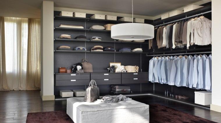 View of wardrobe and storage. furniture, interior design, living room, room, gray, black