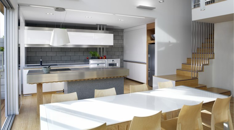 This kitchen, as viewed across the dining area, interior design, kitchen, white, gray