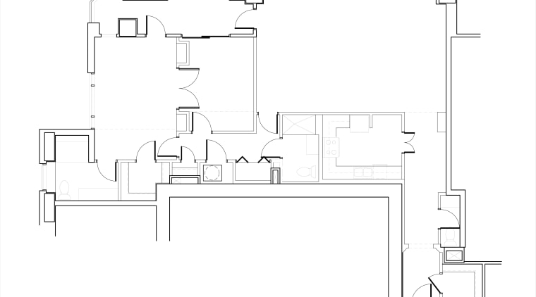 Remodeled by Woody Vaughan of Norwood Architects, this angle, area, black and white, design, diagram, drawing, floor plan, font, line, line art, plan, product, product design, structure, text, white