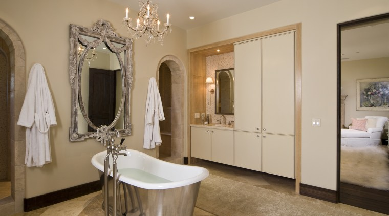 This master suite was designed by Martin Horner bathroom, ceiling, estate, floor, flooring, home, interior design, real estate, room, brown, gray