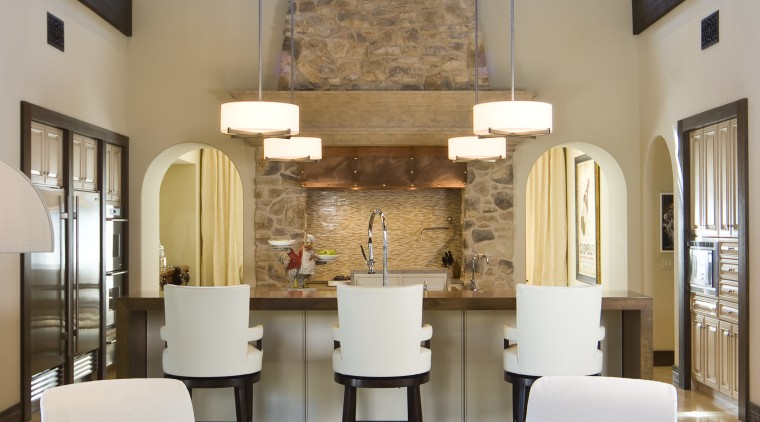 Stone chimney. Italianate villa. Kitchen at one end ceiling, furniture, home, interior design, living room, room, gray, brown
