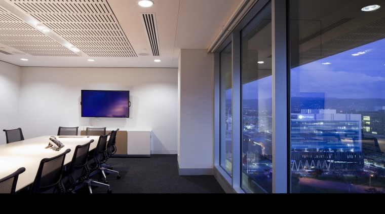View of a conference room with  floor ceiling, interior design, lighting, office, real estate, gray, blue
