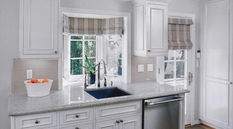 Kitchen by Nancy Del Santo bathroom accessory, cabinetry, countertop, cuisine classique, home, home appliance, interior design, kitchen, refrigerator, room, window, gray