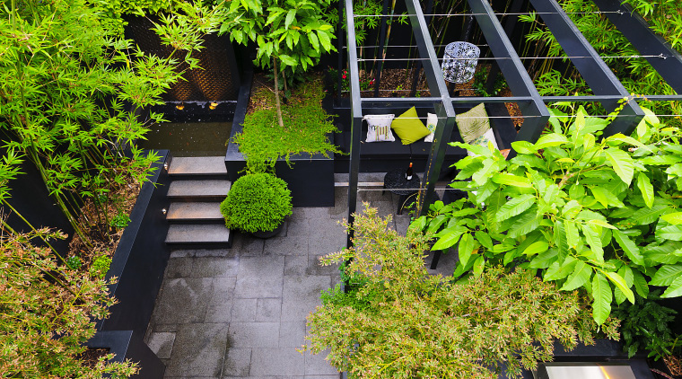 View of outdoor area with landscaping and seating backyard, courtyard, garden, grass, landscape, landscaping, leaf, plant, tree, walkway, yard, green