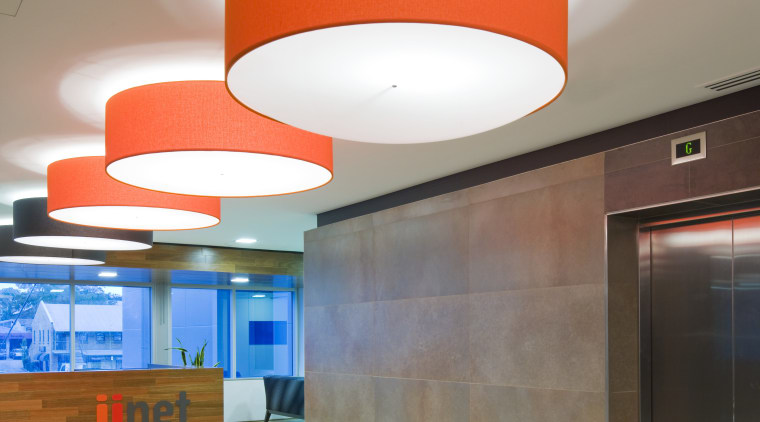 Here is a view of the newly renovated architecture, ceiling, daylighting, floor, interior design, lighting, lobby, product design, wall, gray