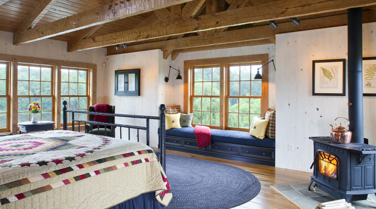 View of bedroom with patchwork quilt, blue mat ceiling, estate, home, interior design, living room, real estate, room, wood, brown