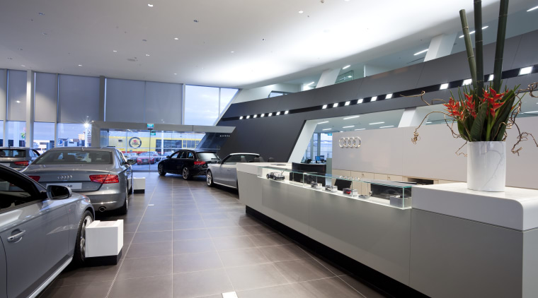 Here is a view of the new Giltrap automotive design, car, car dealership, interior design, luxury vehicle, technology, gray