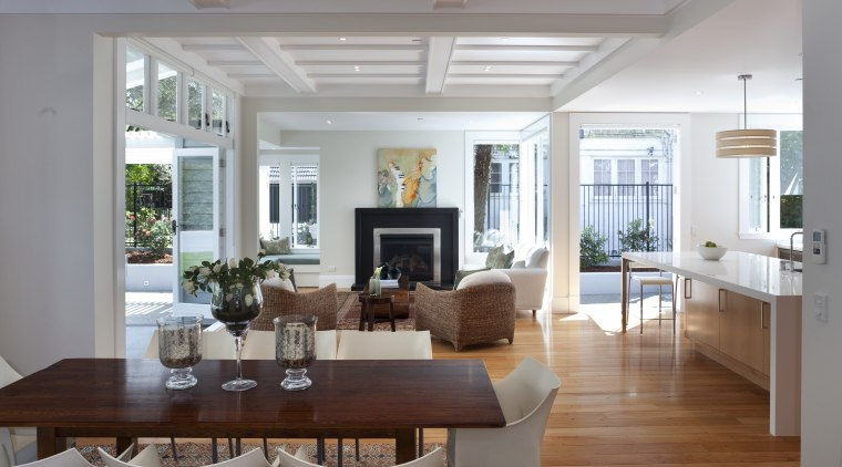 Architects Jane Aimer and Lindley Naismith of Scarlet ceiling, daylighting, dining room, home, house, interior design, living room, property, real estate, room, table, window, gray