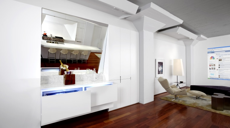 Here is a view of a kitchen designed floor, interior design, living room, loft, white