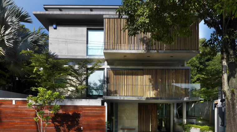 This home was designed with environmental principals in architecture, building, condominium, facade, home, house, neighbourhood, property, real estate, residential area, black