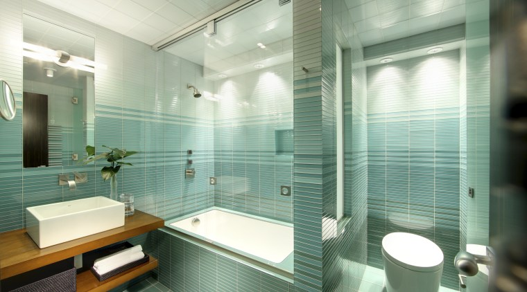 This home's interior was designed by James Laney bathroom, glass, interior design, room, tile, green