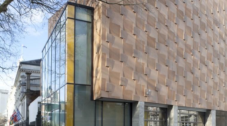 The precast concrete panels for the Q theatre architecture, building, city, commercial building, condominium, facade, house, metropolitan area, mixed use, neighbourhood, real estate, residential area, gray