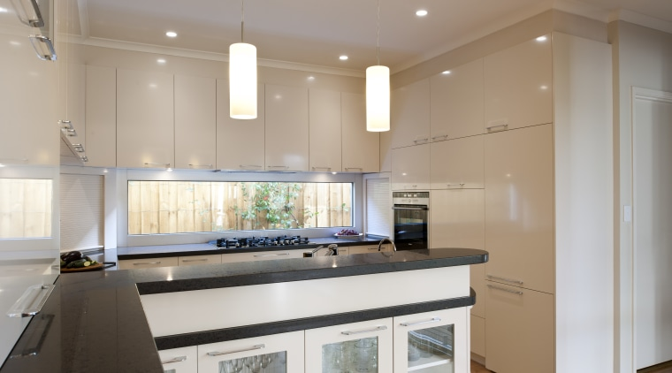 View of contemporary kitchen with white cabinetry and cabinetry, ceiling, countertop, cuisine classique, interior design, kitchen, property, real estate, room, gray