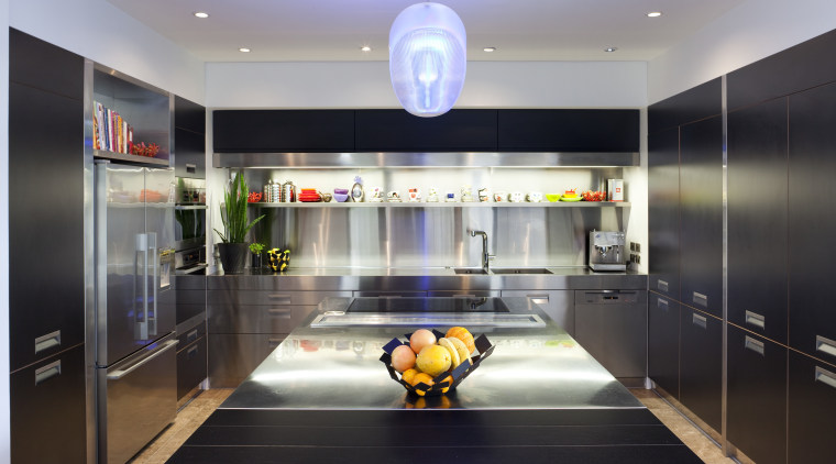 View of contemporary kitchen with dark toned cabinetry interior design, kitchen, black, gray