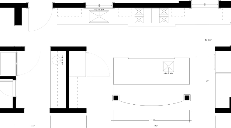 View of kitchen with white cabinetry and wooden angle, area, black and white, design, diagram, drawing, floor plan, font, line, number, pattern, product, product design, square, structure, text, white, white