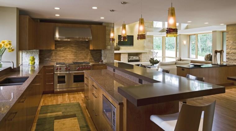 View of contemporary kitchen. countertop, flooring, interior design, kitchen, real estate, room, brown