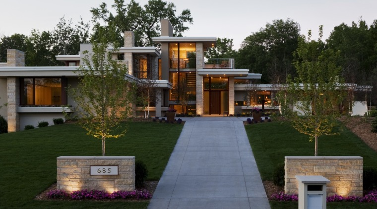 Exterior view of contemporary home with path leading backyard, estate, facade, garden, grass, home, house, mansion, property, real estate, residential area, yard, green