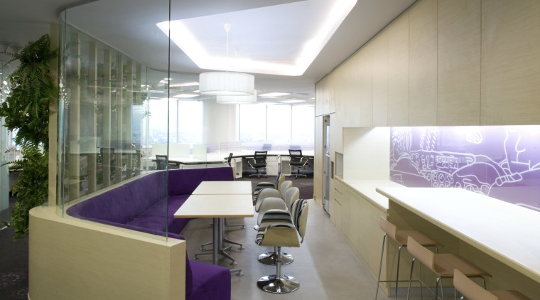 View of seating area with purple booth seating architecture, ceiling, interior design, white, gray