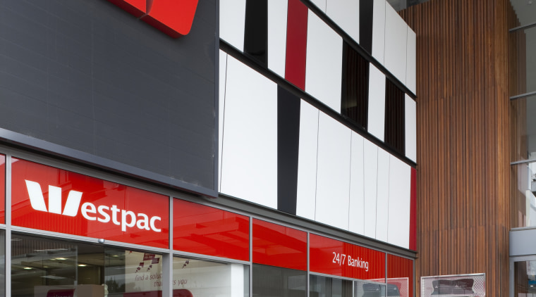 View of Westpac with red, black and white architecture, building, facade, gray