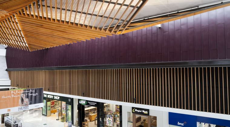 High angle shot showing interior of mall with architecture, ceiling, daylighting, interior design, lobby, roof, gray