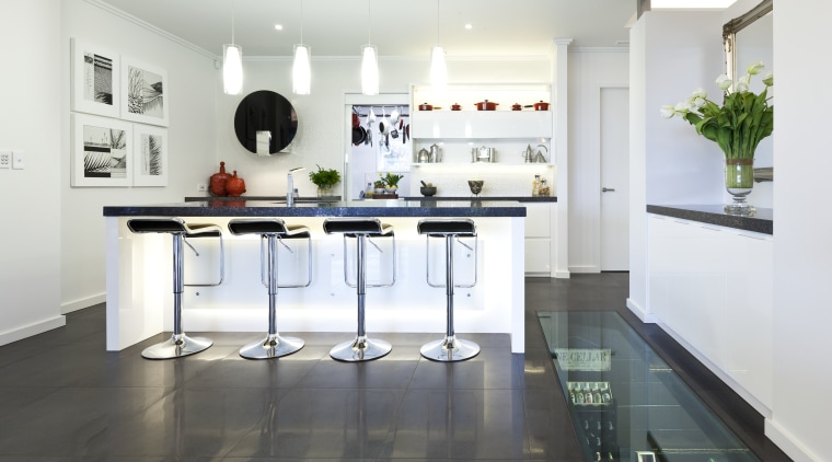 Wide Shot Fo Kitchen, White, Contemporary, Bar Stools Countertop, Floor,  Interior