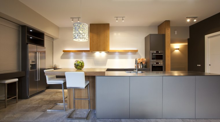 Designed by Sian Gillanders, this kitchen is finished cabinetry, countertop, cuisine classique, interior design, kitchen, room, gray, brown