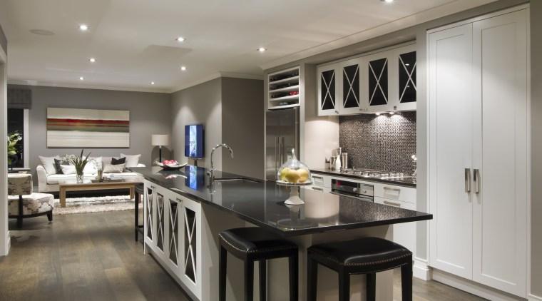 Kitchen with grey flooring, dark benchtop, back stools cabinetry, countertop, cuisine classique, interior design, kitchen, real estate, room, gray